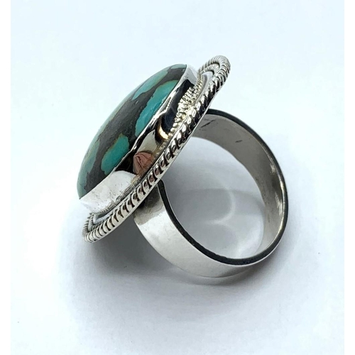 222 - Turquoise Gemstone Ring, 17 grams in sterling  silver, Unisex, size U