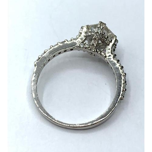 245 - 1ct White asscher cut moissanite diamond ring, size M
