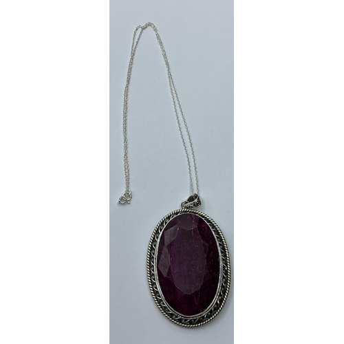 397 - 54grams Ruby Gemstone Pendant, approx weight of ruby 150cts + set in sterling silver, chain length 4...
