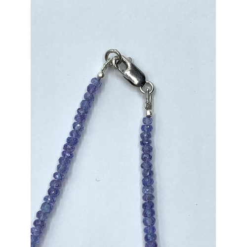 411 - Faceted Tanzanite Gemstone beaded necklace, 18 inches with sterling silver clasp, length 47cm