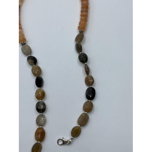 430 - Moonstone Gemstone Beaded Necklace, length 47cm