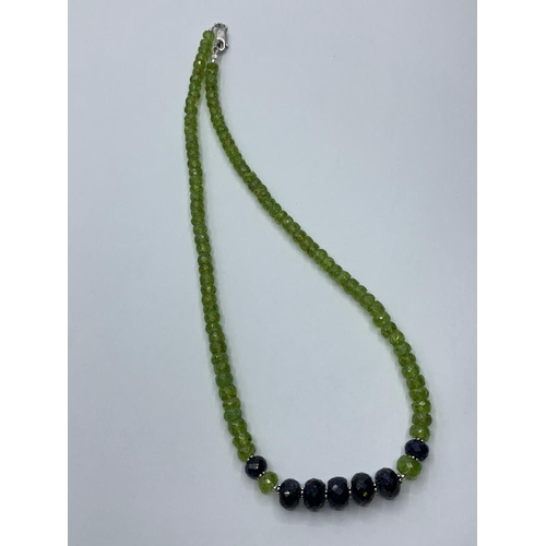 434 - Peridot Necklace with Blue Sapphire Beads, length 46cm
