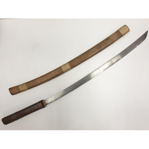 36 - Japanese Army issue SAMURAI SWORD  c 1940 with original wooden taped scabbard.   A/F