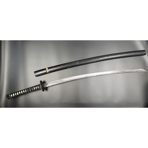 45 - Japanese SAMURAI SWORD with ornate hilt and handle in wooden scabbard.   A/F