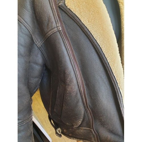 524 - A well aged SHEEPSKIN AVIATOR'S JACKET.  Size 42. Made by Lakeland.