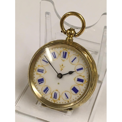 208 - Antique gilt silver lady's POCKET WATCH and stand.  A/F