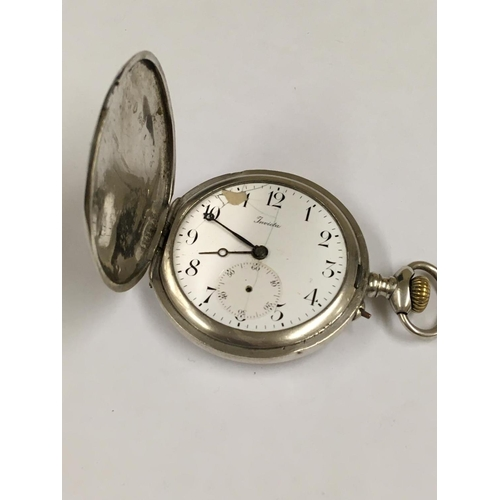 215 - Vintage silver full HUNTER POCKET WATCH.  Working order but the case is faulty.  The latch part had ...