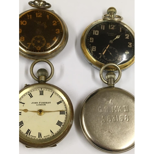 380 - 4 x Vintage pocket watches to include military.  A/F
