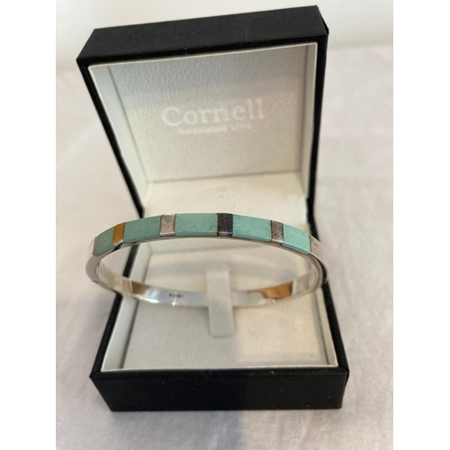 261 - Silver Bangle with Turquoise inset to top, SIDE FASTENING, Clear UK Hallmark for Sheffield Silver an...