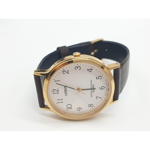 375 - Gentleman's Lorus WRISTWATCH, unused and with original case and paperwork.  Classic style with white...