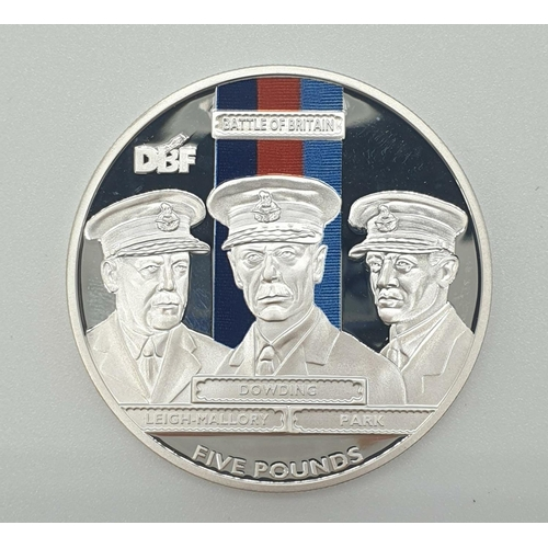 420 - Silver FIVE POUND COIN issued to celebrate the 70th Anniversary of the Battle of Britain.  Having RA...