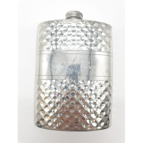 425 - Sheffield Pewter HIP FLASK in beaten metal.  Inscribed cartouche to front.  Hand crafted.