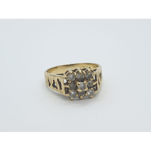 427 - 18CT Y/G DIAMOND 9 STONE CLUSTER RING, weight 4.4G AND  0.30CT APPROX SIZE N