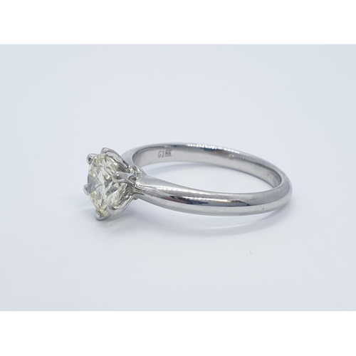 433 - 18CT W/G WITH 1CT DIAMOND SOLITAIRE RING 6 CLAW SETTING (VS2), WEIGHT 3.4G AND SIZE L