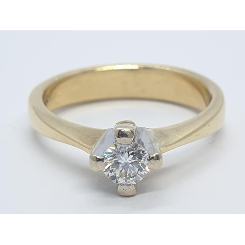 455 - 18CT Y/G DIAMOND SOLITAIRE RING, WEIGHT 4.8G AND 0.35CT DIAMOND APPROX SIZE N1/2