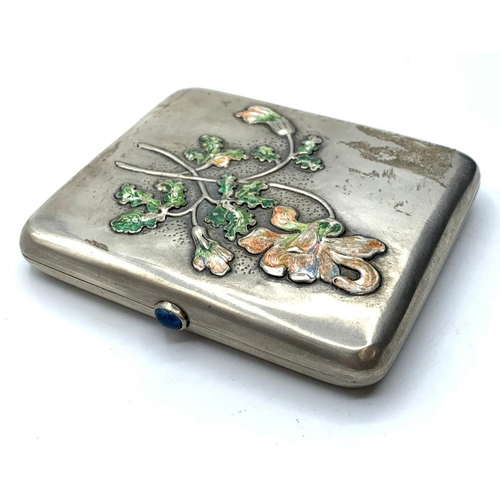 480 - RUSSIAN SILVER CIGARETTE CASE WITH ENAMEL FLORAL MOTIF FROM LATE 19TH CENTURY WITH SAPPHIRE OPENING ...