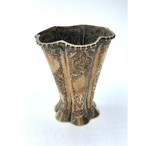 542 - Persian silver hand engraved vase, 100g weight and 9cm tall, late 19th century