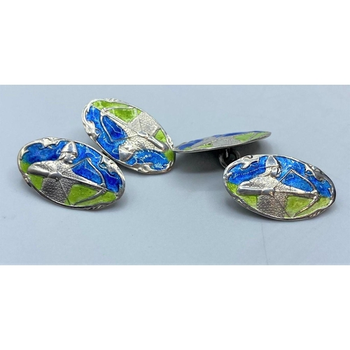 545 - ANTIQUE RUSSIAN SILVER AND ENAMEL CUFFLINKS, WEIGHT 8.4G