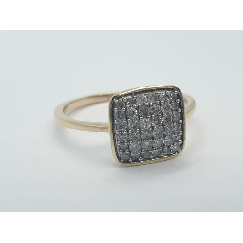 563 - 9CT Y/G FANCY CLUSTER DIAMOND RING, WEIGHT 2.5G AND SIZE T1/2