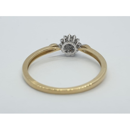 564 - 9CT Y/G DIAMOND SET CLUSTER RING, WEIGHT 1g AND SIZE M1/2