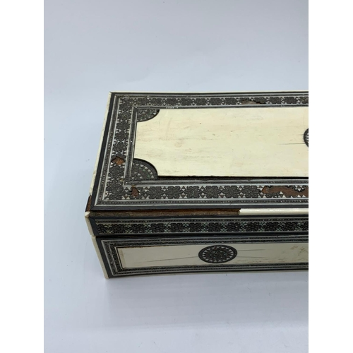 594 - Victorian Anglo-Indian ivory trinket box, 26x10cm some age related marks