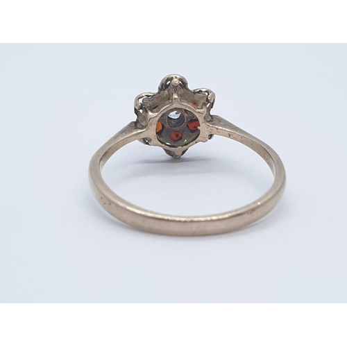 598 - 9CT Y/G CZ AND RED STONE DRESS CLUSTER RING , WEIGHT 2G AND SIZE P