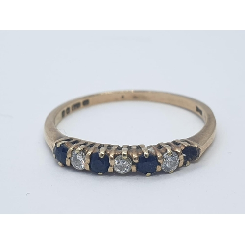 599 - 9CT Y/G DIAMOND & SAPPHIRE RING, WEIGHT 1.5G AND SIZE  O (1 STONE MISSING)