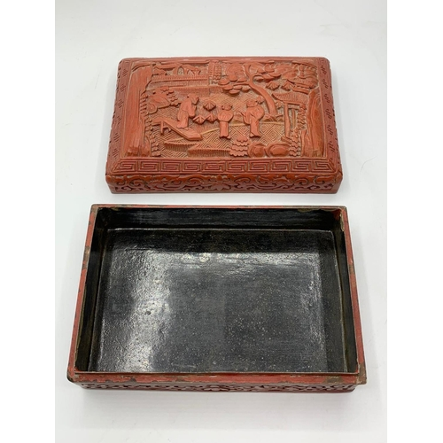 558 - Antique Chinese lacquered hand carved cinnabar trinket box, 14x9cm approx