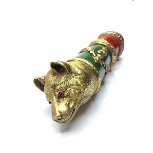 566 - RUSSIAN LATE 19TH CENTURY SILVER BEAR'S HEAD CANE HANDLE WITH JADE (NEPHRITE) AND RUBY DECORATED WIT...