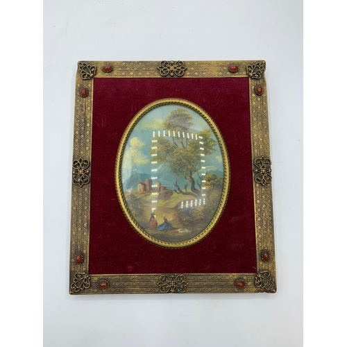 571 - Art and craft miniature on copper by Holt with the bronze and agate frame 19x16cm approx