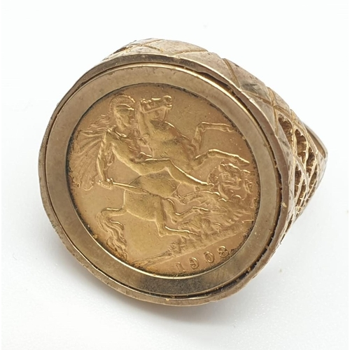 51 - 1908 Sovereign  Ring.  enclosed in 9ct gold.  9.8g  Size V/W