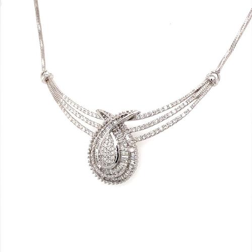 19 - 18ct white gold necklace with diamond cluster pendant (Bagguette cut 0.62ct, G/H colour, VS/SI1 clar...