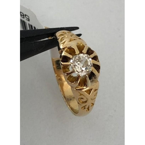367 - 18k yellow gold ring with old cut diamond 0.30ct; 3.40g; size F1/2