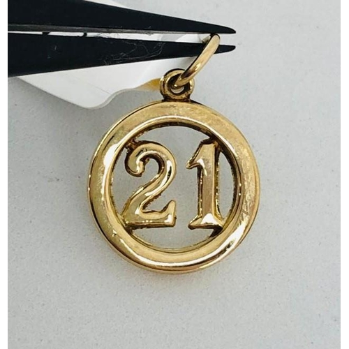 591 - 9k yellow gold charm pendant- sign 21; weight 0.9g