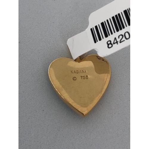601 - 18k yellow gold heart pendant with opals; weight 3.2g; brand Kabana