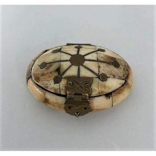 605 - bone box, weight 71.2g; 7.8x5.2x3.2cm