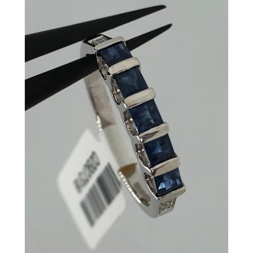 613 - 18k white gold ring with sapphires ( 5 stones, each 2.7x2.6mm approximately and diamonds around 0.04...