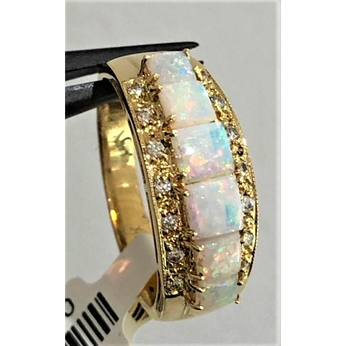 615 - 18k yellow gold ring with diamonds 0.08ctd and opals ( stones from 3.3x3.3mm to 4x4mm); weight 4.1g;...
