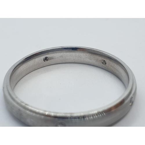 618 - 18CT W/G DIAMOND SET BAND RING 3.6G AND SIZE O