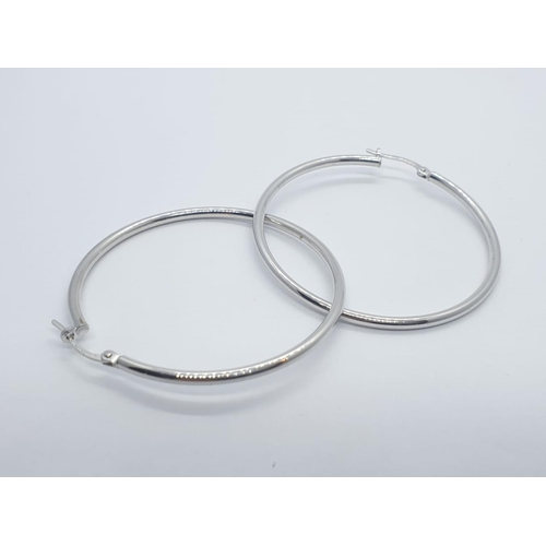631 - 9CT W/G LARGE HOOP EARRINGS 3.5G AND 4CM DIAMETER APPROX
