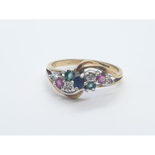 645 - 9CT Y/G DIAMOND, EMERALD & RUBY FANCY RING, WEIGHT 2.2G AND SIZE N1/2