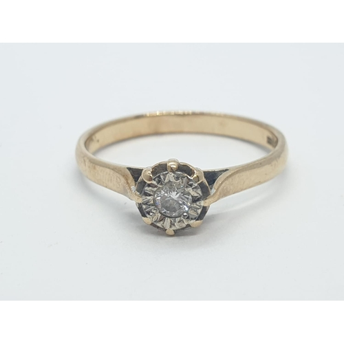 647 - 9CT Y/G DIAMOND SOLITAIRE RING 0.10CT, WEIGHT 2G AND SIZE O