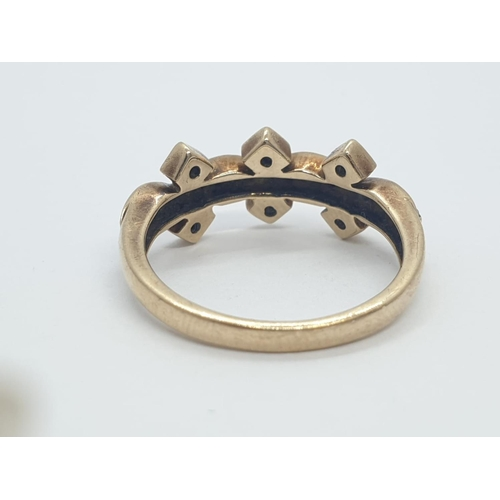 651 - 9CT Y/G FANCY DIAMOND SET BAND RING, WEIGHT 3G AND SIZE N
