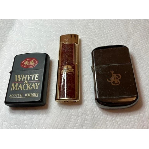 650 - 3x Vintage Lighters having AD's to front for Whyte & Mackay Scotch Whisky John Player Special & Ogde...