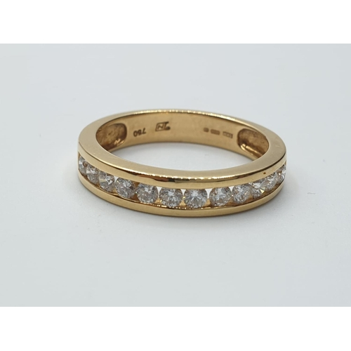 667 - 18ct yellow gold diamond set 1/2 eternity ring, weight 3.9g and 0.60ct approx SIZE O