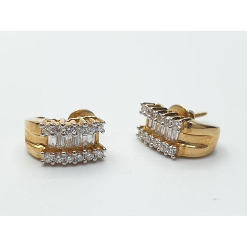 668 - 18ct yellow gold 3 row diamond hoops  earrings, weight 5g and 0.75ct approx