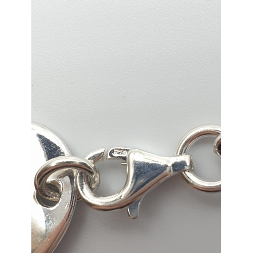 680 - Sterling silver oval tag necklace 20g
