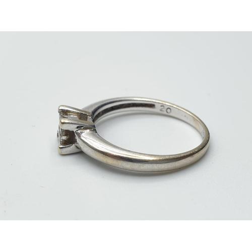687 - 18ct White Gold Diamond Ring with 0.80ct Diamond 2.8g. Size J/K