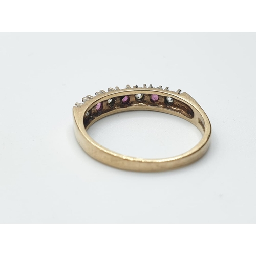 688 - 9ct Yellow Gold Dress Ring with white and Pink Stone 2.2g. Size N