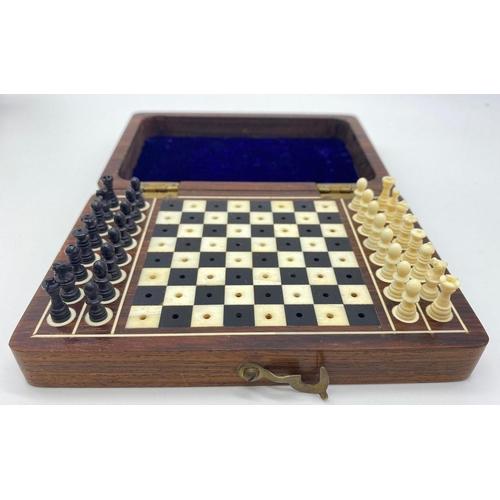 604 - Mini Bone CHESS SET in a wooden box.  14 x 9.5cm